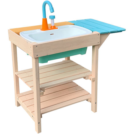 Children's Outdoor Play Kitchen made of Wood with Sink for Gardens, Patios & Balconies