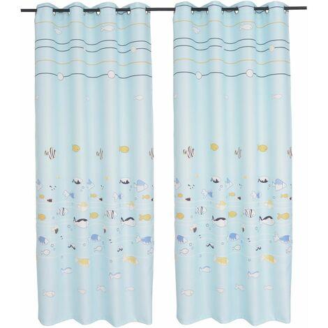 Children's Printed Blackout Curtains 2 pcs 140x240 cm Blue