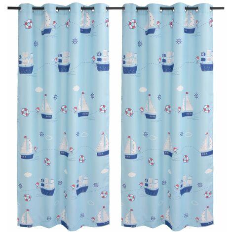 Children's Printed Blackout Curtains 2 pcs 140x240 cm Blue - Blue