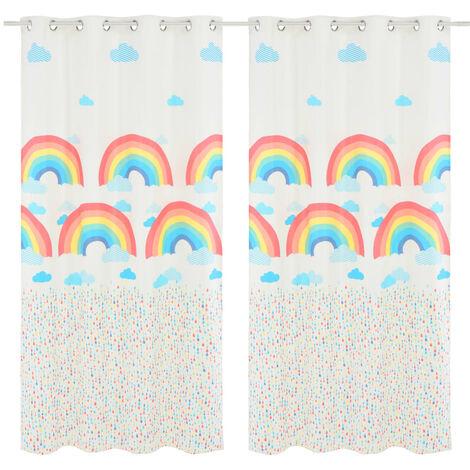 Children's Printed Blackout Curtains 2 pcs 140x240 cm Rainbow - Multicolour