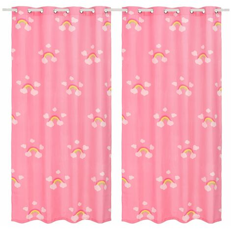 Children's Printed Blackout Curtains 2 pcs 140x240 cm Rainbow Pink - Pink