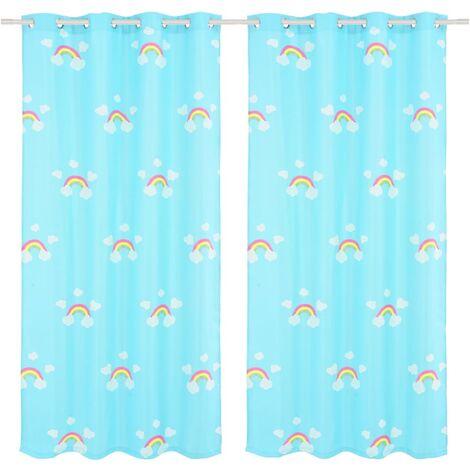Children's Printed Blackout Curtains 2 pcs 140x240cm Rainbow Blue - Blue