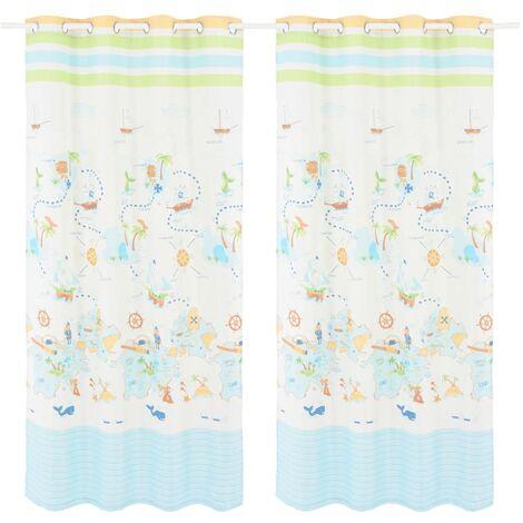 Children's Printed Blackout Curtains 2 pcs 140x240cm Travel the World - Multicolour