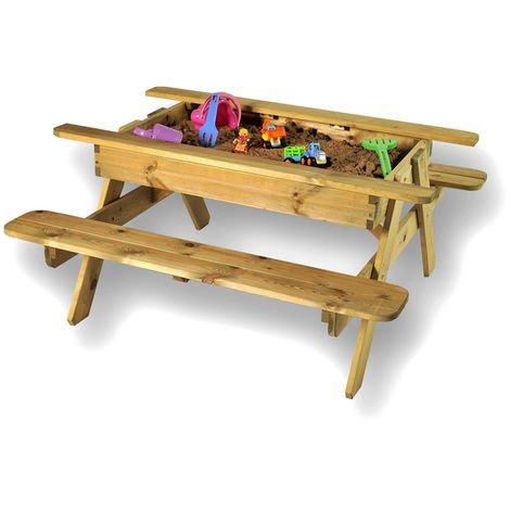 Childrens Sandpit or Toy Storage Picnic and Play Table
