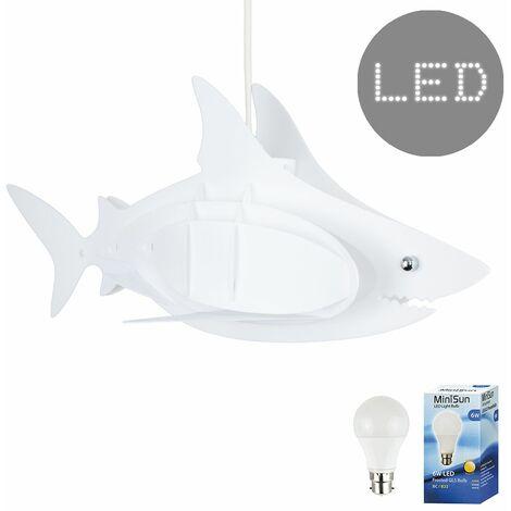 Childrens Shark Ceiling Pendant Light Shade 3D White Bedroom Lighting - BC B22 LED