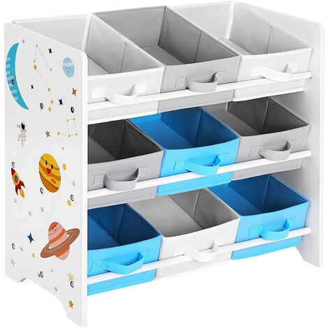Children's Storage Shelf for Toys and Books, 9 Removable Non-Woven Fabric Boxes with Handles, for Children's Room, Playroom, Daycare, School, 62.5 x 29.5 x 60 cm, Space-Saving, White GKR33WT