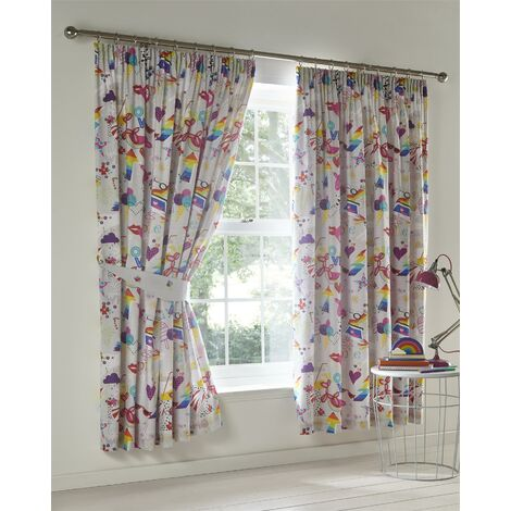 """Children's Taped Top Pencil Pleat Curtains Pair Lined 66x72"""" Cartoon Sketch"""