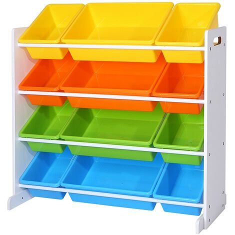 Children's Toy Storage Unit Playroom Display Stand Unit with 4 Colour Removable PP Container Box with Density Board Frame Stand White 86 x 26.5 x 78 cm (W x D x H) GKR04W