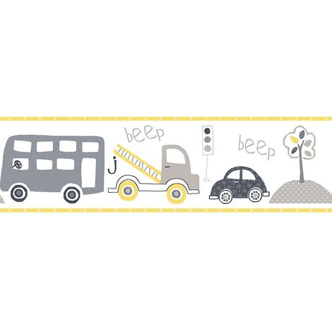 Children's Vehicle Wallpaper Border Yellow Car Bus Truck Tree Paste Wall Galerie