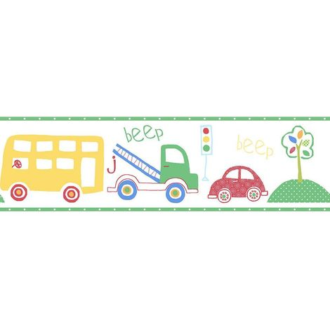 Children's Vehicles Wallpaper Border Green Car Bus Truck Tree Paste Wall Galerie
