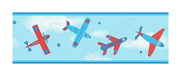 Image of Children's Wallpaper Border Aeroplane Aircraft Stars Carousel Blue Red