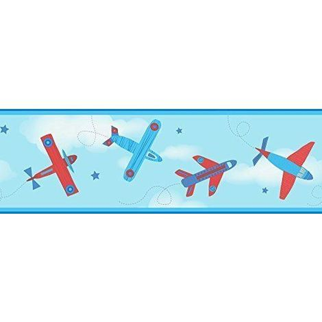 Children's Wallpaper Border Aeroplane Aircraft Stars Carousel Blue Red