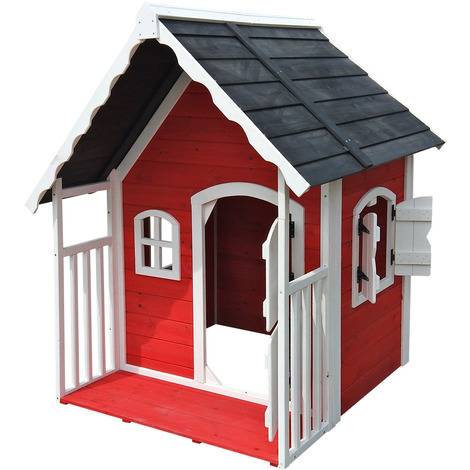Childrens wooden playhouse kids garden play house with roofed veranda