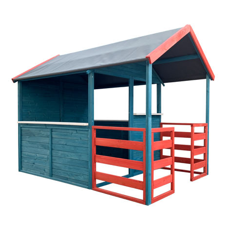 Children's Wooden Playhouse XL 146x195x156cm with Living Area and Patio, red/ blue