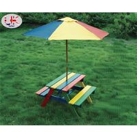 Children's Wooden Rainbow 2 in 1 Kids Picnic Table and Parasol Set