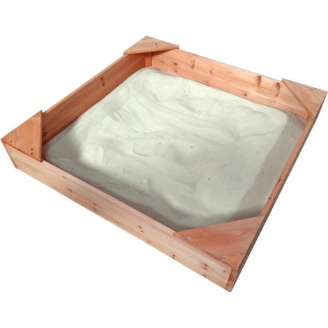 Children's Wooden Sandpit (1m Square) with Cover and Groundsheet