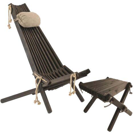 Chilienne scandinave avec repose-pieds Pin Noir - Noir