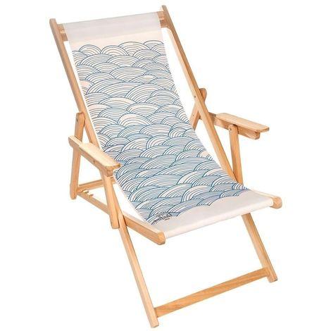 Chilienne transat bois d'eucalyptus tissu 100% coton Elvas Blanc cassé, Imprimé vagues Bleus - Blanc cassé, Imprimé vagues Bleus