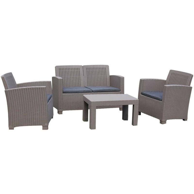 Gartenset Santorini Aus Harz 1 Sofa 2 Sitzplätze + 2 Sessel + 1 Beigefarbener Tisch Mit Grauen Kissen - Chillvert
