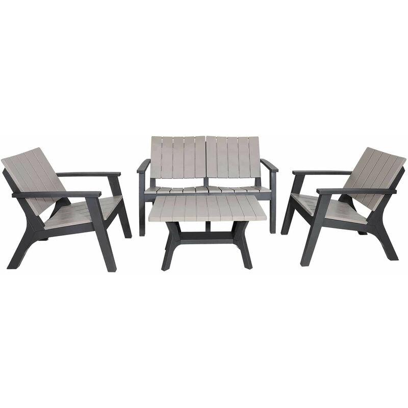 Gartenset Siros Aus Harz 1 Sofa 2 Sitzplätze + 2 Sessel + 1 Tisch Beige Und Grau - Chillvert