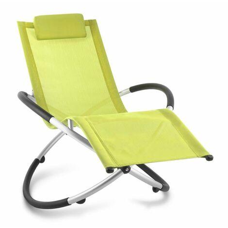 Chilly Billy Chaise longue jardin transat aluminium -citron vert
