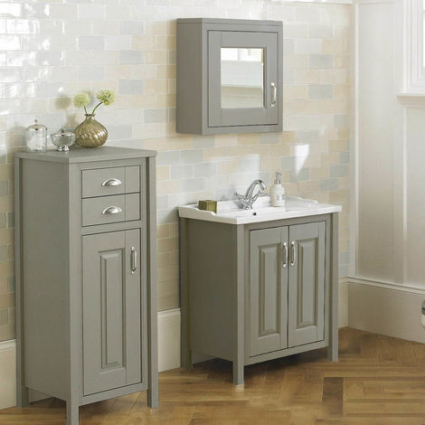 CHILTERN Stone Grey 600mm Traditional Freestanding Vanity Unit Furniture Suite