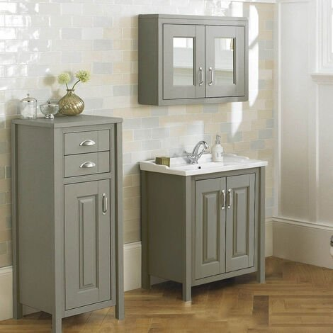 CHILTERN Stone Grey 610mm Traditional 3 Piece Freestanding Vanity Unit Furniture Suite
