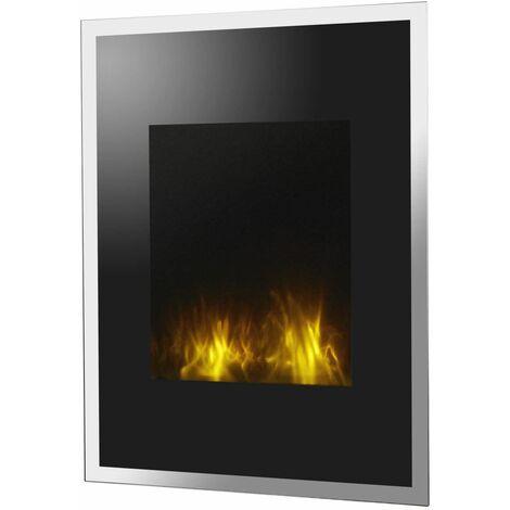 Chimenea de pared eléctrica Empire State cm 65x14x85 Chemin'Arte 104 - Negro y acero inoxidable