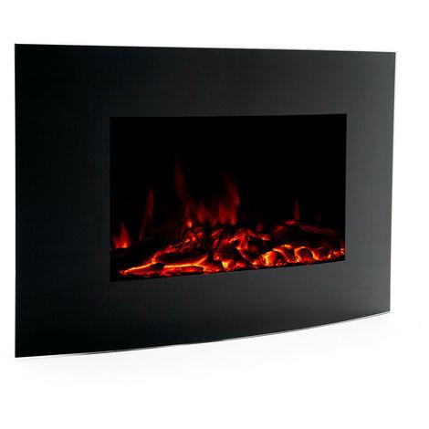 Chimenea Eléctrica 2000 W Kekai Jersey 88x15x56 cm con Simulación de Fuego de Pared Negra