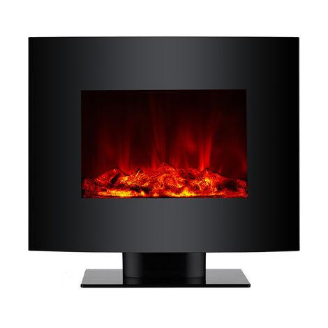 """main image of """"Chimenea Eléctrica, 2000W, cristal templado negro, con pie y mando a distancia"""""""