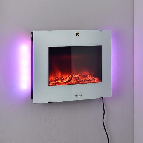 Chimenea eléctrica - 65 x 13,5 x 46 cm - Animación de fuego - Plástico, metal, vidrio - Termostato programable incorporado - Blanco