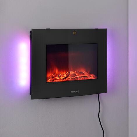 Chimenea eléctrica - 65 x 13,5 x 46 cm - Animación de fuego - Plástico, metal, vidrio - Termostato programable incorporado - Negro