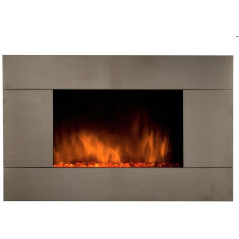 Chimenea eléctrica con calefactor y efecto llama acabado inox