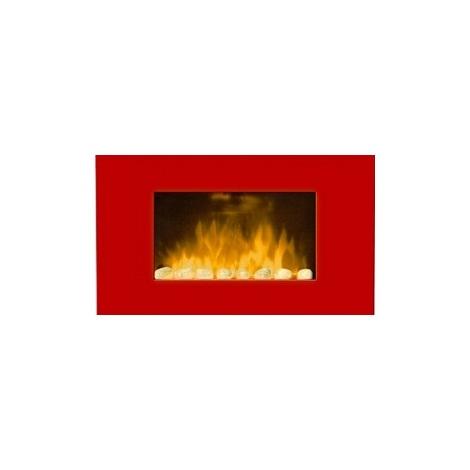 Chimenea eléctrica con calefactor y efecto llama color rojo