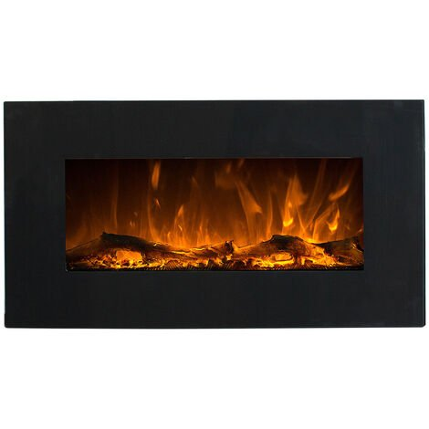 "main image of ""Chimenea eléctrica de pared Black Led cm 45x84x14 GLOW-FIRE NEPTUN-NERO - Negro"""