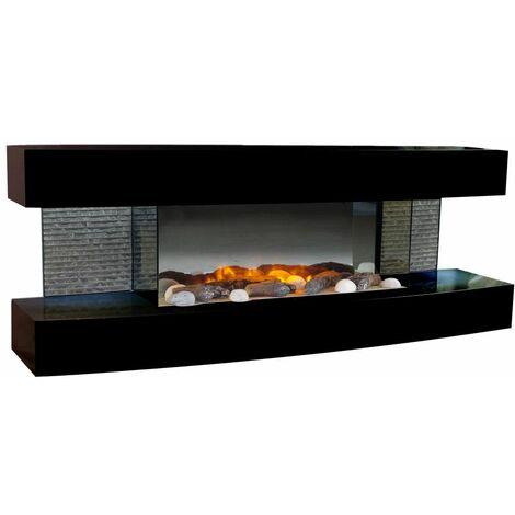 """main image of """"Chimenea electrica de pared Lounge cm 120x31x46 Chemin'Arte LOUNGE-BLACK - Negro brillante"""""""
