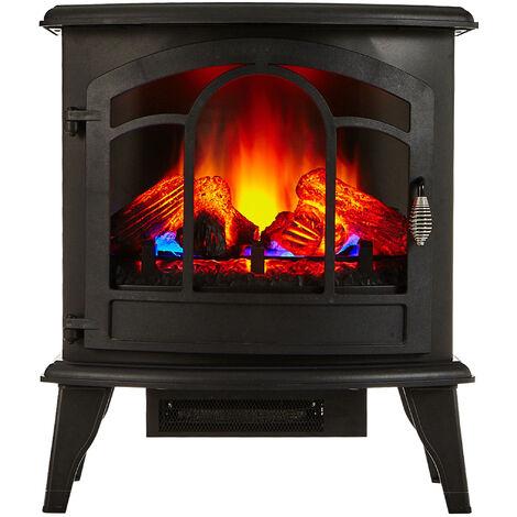 Chimenea Eléctrica de suelo tipo estufa tradicional de color negro con efecto fuego 3D