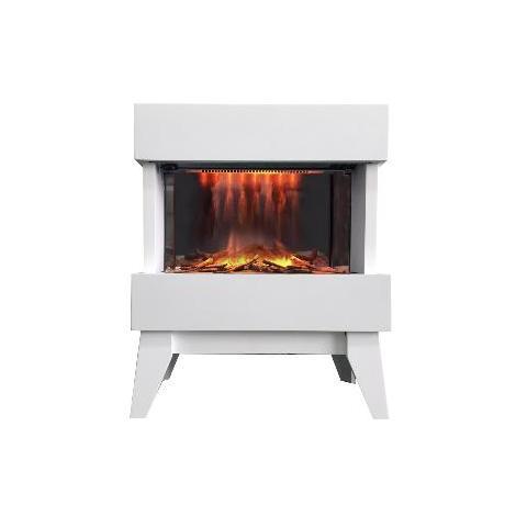Chimenea eléctrica diseño con calefactor Vidrio blanc