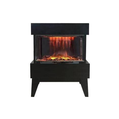 Chimenea eléctrica diseño con calefactor Vidrio negro