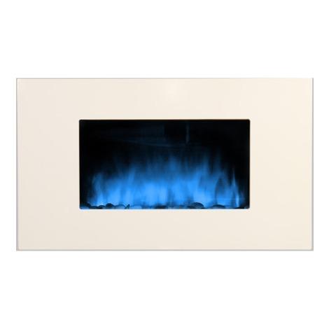 Chimenea eléctrica eléctronica con calefactor y efecto llama color blanco