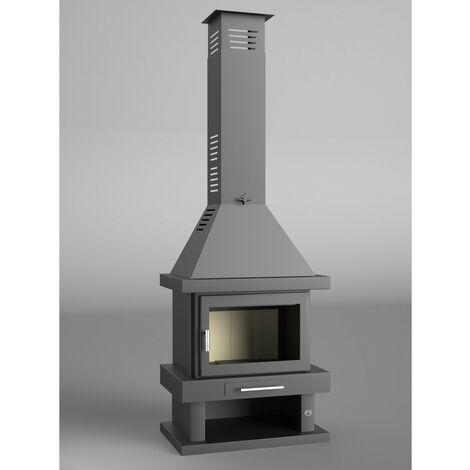 Chimenea Leña Frontal C-200 - FM CALEFACCION - Interior Vermiculita - Doble combustión