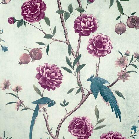 Chinoise Floral Wallpaper Arthouse Mint Teal Purple Birds Flowers Vinyl