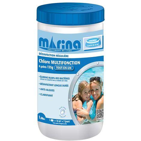 Chlore 4 actions galets pour piscine 10 m³ 1,08 kg - Marina