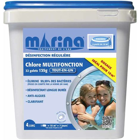 Chlore 4 actions galets pour piscine 10 m³ 4,32 kg - Marina