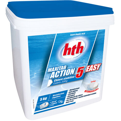 Chlore 5 actions en sachet hydrosoluble Maxitab 5 kg - HTH