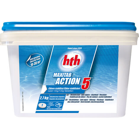 Chlore 5 actions Maxitab galets 135 g 2,7 kg - HTH