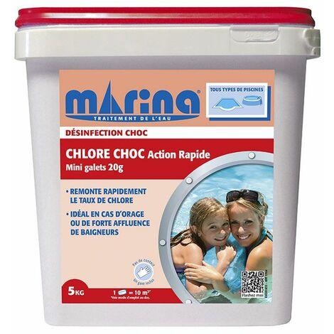 Chlore choc Action Rapide Marina 5kg - Mini Galets de 20g