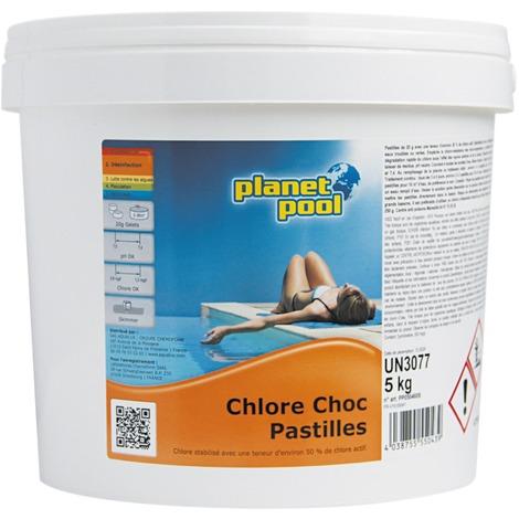 Chlore choc pastilles de 20 g Planet Pool - Seau 5 kg - Blanc