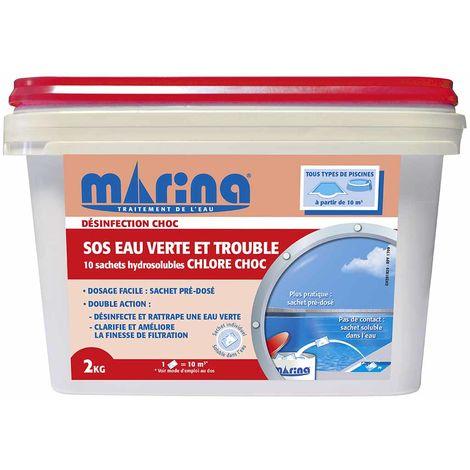 Chlore choc sachets SOS eau verte et trouble 2 kg - Marina