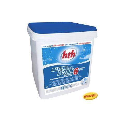 Chlore HTH Stabilisé ACTION 6 - Spécial LINER - Seau de 5kg - K801795H1